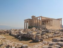 Erechtheion Parthenon, tempel av Athena, Grekland, Aten arkivfoton
