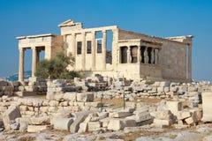 Erechtheion Tempelpanorama, Akropolis lizenzfreie stockfotos