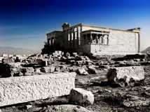 Erechtheion temple Acropolis in Athens with Caryatides, Greece Stock Images