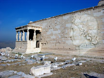 Erechtheion temple Acropolis in Athens with Caryatides, Greece Royalty Free Stock Image