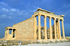 Erechtheion temple Acropolis in Athens. Erechteion, Parthenon on the Acropolis in Athens, Greece Royalty Free Stock Photo