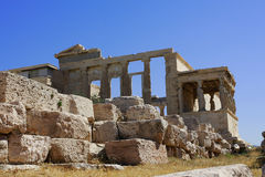 Erechtheion temple Acropolis,Caryatids, Athens Greece. The Erechtheion is an ancient Greek temple on the north side of the Acropolis of Athens in Greece which Royalty Free Stock Images