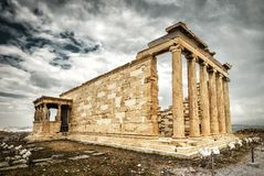 Erechtheion temple with Caryatid Porch on the Acropolis in Athens, Greece royalty free stock image