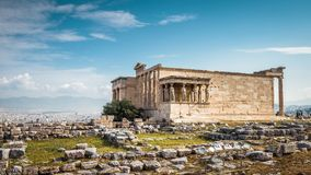 Erechtheion temple with Caryatid Porch on the Acropolis, Athens, Greece royalty free stock photography