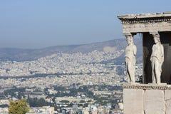Erechtheion van Erechtheum in Athene Stock Fotografie