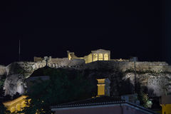 Erechtheions-Tempel belichtet, Athen-Akropolis, Griechenland Stockbilder