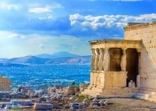 Erechtheiontempel van Akropolis Royalty-vrije Stock Afbeeldingen