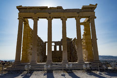 Erechtheum in acropolis. Erechtheum temple inside acropolis area Stock Photo