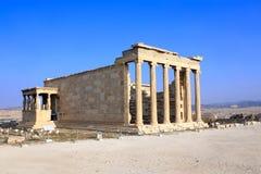 Erechtheum dall'acropoli ateniese, Grecia Fotografia Stock Libera da Diritti