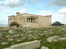 The Erechtheum or the Erechtheion, an Ancient Ionic Temple on the Acropolis of Athens Royalty Free Stock Photography