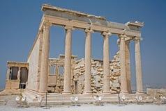 Erechtheum op de Akropolis, Athene Stock Afbeeldingen
