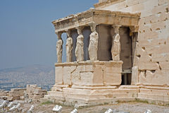 Erechtheum op de Akropolis, Athene Stock Foto's