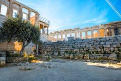 Erechtheum and Parthenon temple in Acropolis Stock Photo
