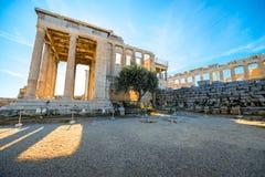 Erechtheum and Parthenon temple in Acropolis Stock Image