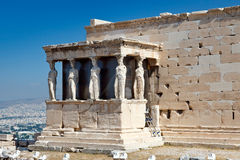 Erechtheum Temple in Acropolis, Athens. Caryatids on Erechtheum temple in Acropolis, Athens Royalty Free Stock Images