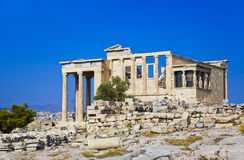 Erechtheum temple in Acropolis at Athens, Greece. Travel background Royalty Free Stock Images