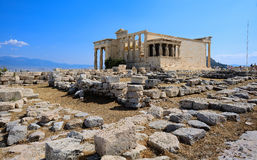 Erechtheum temple. In Acropolis at Athens, Greece Royalty Free Stock Photo