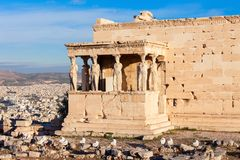 Erechtheum Temple in Athens. The Erechtheion or Erechtheum is an ancient Greek temple on the Acropolis of Athens in Greece which was dedicated to both Athena and Royalty Free Stock Photos