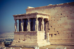 Erechtheum temple in Athens, Greece Royalty Free Stock Images