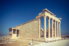Erechtheum temple in Athens, Greece. Erechtheum temple ruins in the Acropolis of Athens, Greece Royalty Free Stock Image