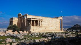 The Erechtheum. Temple with famous Caryatids royalty free stock photos