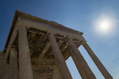 Erechtheum in acropolis. Erechtheum temple inside acropolis area Stock Photos