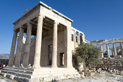 Erechtheum in acropolis. Erechtheum temple inside acropolis area Royalty Free Stock Image
