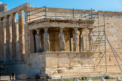Erechtheum temple ruins on the Acropolis  in Athens Royalty Free Stock Image