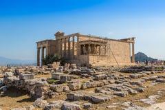 Erechtheum temple ruins on the Acropolis  in Athens Royalty Free Stock Photos