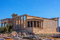 Erechtheum temple ruins. On the Acropolis in a summer day in Athens, Greece Royalty Free Stock Photos