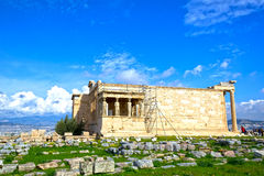 The Erechtheum. View of the Erechtheum with the Caryatids statues. Erechtheum is an ancient Greek temple on the north side of the Acropolis of Athens in Greece Stock Images