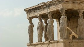 The erechthion ladies at the acropolis in athens, greece. Side view of the erechthion ladies at the acropolis in athens, greece stock photos
