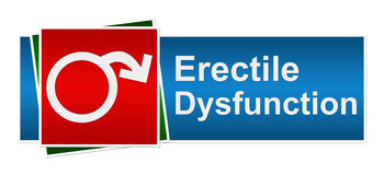 Erectile Dysfunction Blue Red Green Banner. Erectile dysfunction symbol with red cross on red background royalty free illustration