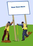 Erecting a Sign. Construction workers erecting a blank sign Stock Photography