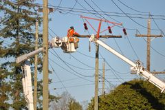 Erecting a Transmission Power Line Royalty Free Stock Photos