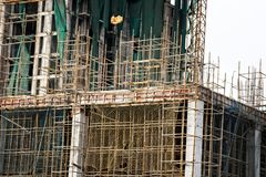 Erection of buildings. Rapid growth of construction in India. Erection of buildings. Rapid growth of residential and industrial construction in India. Indian royalty free stock photo