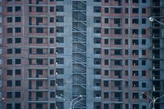 Erection of Modern building. Erection of a monolithic residential building royalty free stock images