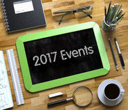 2017 Ereignis-Konzept auf kleiner Tafel 3d Lizenzfreie Stockfotos
