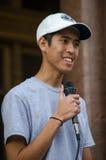 Ereignis-Organisator Speaking am Trumpf-Protest Stockbild