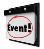Ereignis-Wort eingekreiste Kalender-spezielle Partei-Anzeige Stockfotografie