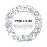 Ereignisagentur, Geburtstagsfeierfahne mit Vektorlinie Ikone der Verpflegung, Geburtstagskuchen, Ballondekoration, Blume lizenzfreie abbildung