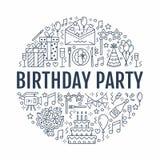 Ereignisagentur, Geburtstagsfeierfahne mit Vektorlinie Ikone der Verpflegung, Geburtstagskuchen, Ballondekoration, Blume vektor abbildung