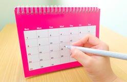 Ereignisdatum in einem Kalender Stockfotografie