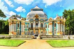 Eremitboningpaviljong i Catherine Park i Tsarskoye Selo stock illustrationer