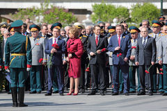 Сeremony of laying flowers to the Tomb of the Unknown Soldier. MOSCOW, RUSSIA - MAY 8, 2014: Сeremony of laying flowers to the Tomb of the Unknown Soldier Royalty Free Stock Photography