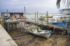 ERENGGANU, MALAYSIA - APRIL 20, 2015 - Fishermen boat parked near Seberang Takir beach, Terengganu, Malaysia at APRIL 20, 2015. Royalty Free Stock Photo