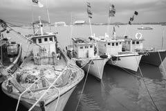 ERENGGANU, MALAYSIA - APRIL 20, 2015 - Fishermen boat parked near Seberang Takir beach, Terengganu, Malaysia at APRIL 20, 2015. Royalty Free Stock Image