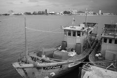 ERENGGANU, MALAYSIA - APRIL 20, 2015 - Fishermen boat parked near Seberang Takir beach, Terengganu, Malaysia at APRIL 20, 2015. Royalty Free Stock Images