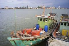 ERENGGANU, MALAYSIA - APRIL 20, 2015 - Fishermen boat parked near Seberang Takir beach, Terengganu, Malaysia at APRIL 20, 2015. Royalty Free Stock Photography
