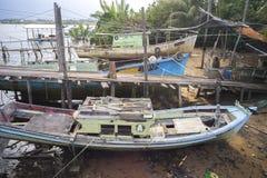 ERENGGANU, MALAYSIA - APRIL 20, 2015 - Fishermen boat parked near Seberang Takir beach, Terengganu, Malaysia at APRIL 20, 2015. Stock Images